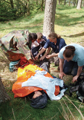 Outdoor first aid showing bivi bag