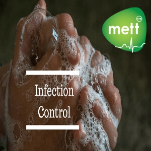 Infection control hand washing picture with METT logo